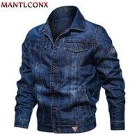 MANTLCONX Solid Casual Mens Denim Jacket Plus Size 6XL Bomber Jacket Men High Quality Cowboy Men's Jean Jacket Chaqueta Hombre