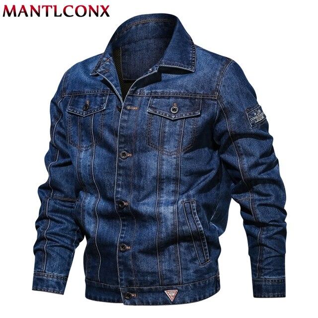 MANTLCONX solidna dorywczo mężczyzna kurtka dżinsowa Plus
