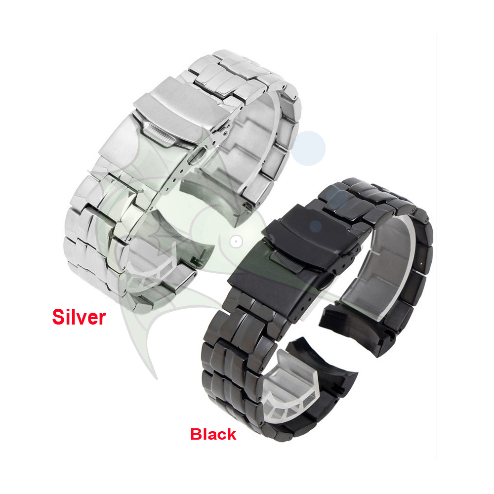 High Qualith Stainless Steel Watch Band Bracelet,22mm Curved Black Sliver Watch Strap For Casio EF-550 Watchband Strap