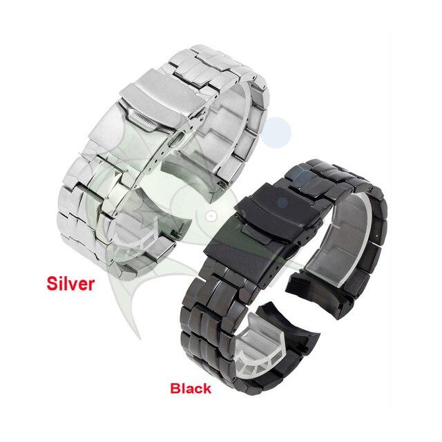 Cao Qualith Thép Không Gỉ Ban Nhạc Đồng Hồ Vòng Đeo Tay, 22mm Cong Mảnh Màu Đen Dây Đeo Đồng Hồ cho Casio EF 550 Watchband dây đeo