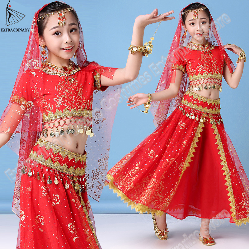 New Style Kids Belly Dance Indian Costume Set Sari Bollywood Children Outfit Halloween Chiffon Top Belt Skirt Veil Headpiece