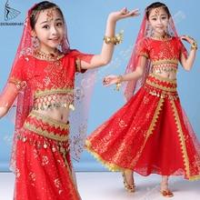 New Style Kids Belly Dance Indian Costume Set Sari Bollywood Children Outfit Halloween Chiffon Top Belt Skirt Veil Headpiece