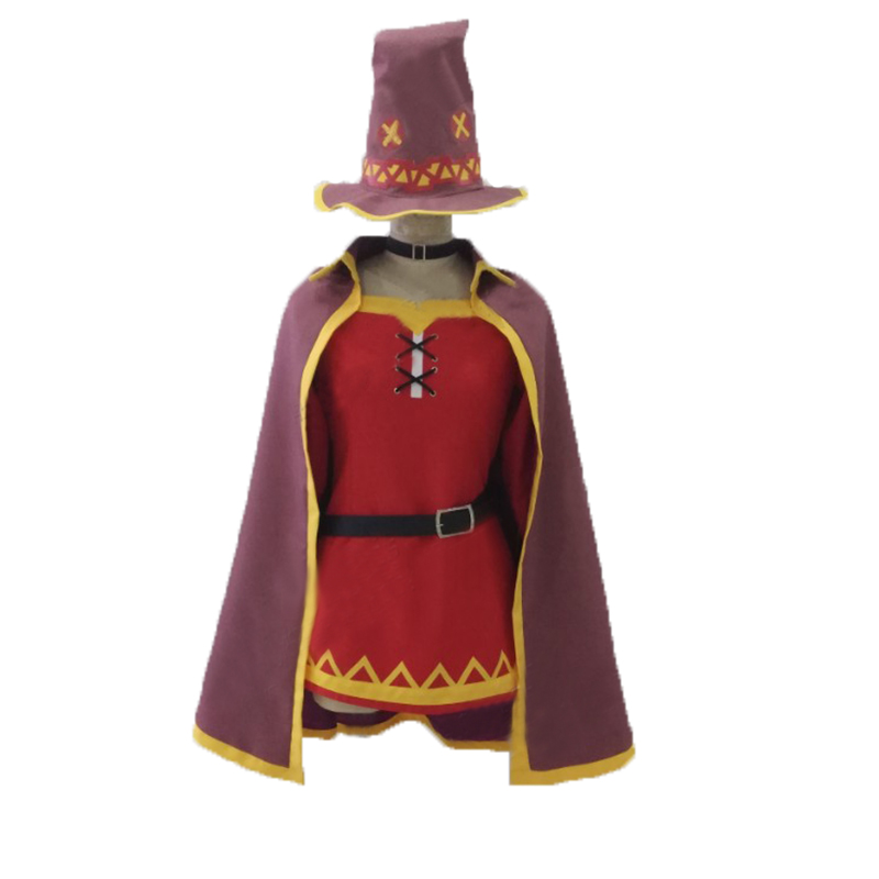 Anime KonoSuba God's Blessing On This Wonderful World Megumin Cosplay Costume with hat and gloves and socks