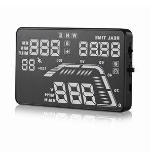 """Image 5 - Universal novo q7 5.5 """"multi cor carro automático hud gps cabeça up display velocímetros excesso de velocidade aviso dashboard brisa projetor"""