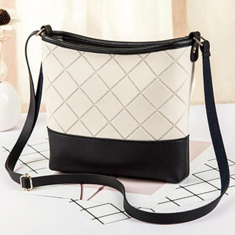 4 Colors Small Women Leather Bucket Bag Handbag Splice Drawstring Shoulder Bag Messenger Crossbody Bags Purses