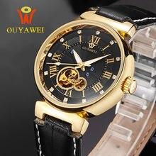Turbillon OUYAWEI Lujo De la Marca de Negocios Hombres Reloj Mecánico Automático Relojes de Pulsera de Cuero Auténtico Impermeable Reloj Mujer