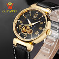 Ouyawei marca de luxo negócio turbillon relógios dos homens automáticos mecânicos relógios de pulso para couro genuíno impermeável reloj mujer