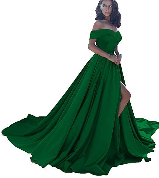 Vestido longo, сексуальные вечерние платья с разрезом, с открытыми плечами, платье для выпускного вечера,, официальное вечернее платье, Vestido De Noiva - Цвет: Dark Green