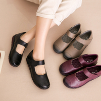 AARDIMI 2018 Casual Genuine Leather Women Flats Shoes Spring Autumn Hook Loop Solid Mother Shoes Handmade