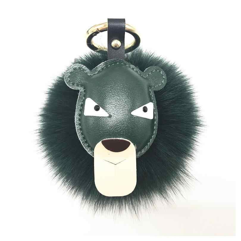 Сумка в виде льва аксессуары сумки Шарм брелок сек реальный лисий мех мяч автомобиль Ключи Кольцо пушистые Помпоны из меха цепочка для ключей с пряжками A84