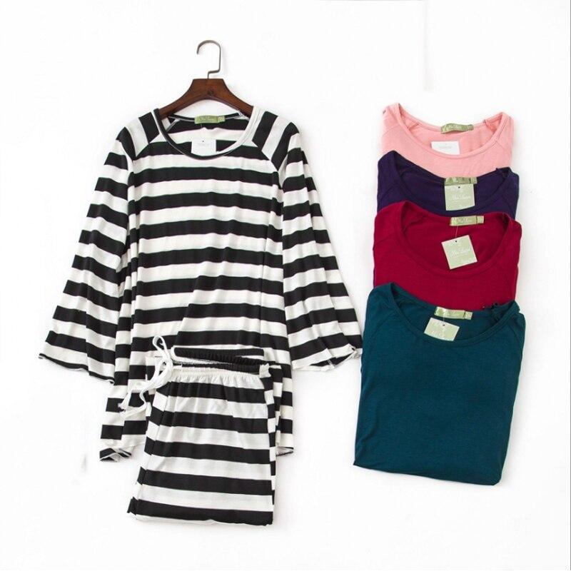 Spring Female Sweety Loosen Pajama Sets Women Long Sleeve V-Neck Collar T Shirt +Pants Ladies Modal Sleepwear Suit