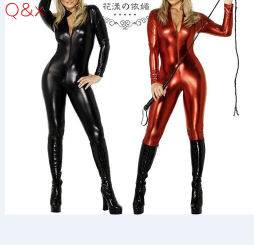 YQ19 2017 Female PVC Patent Leather Black Red Bodysuit Gothic Look Liquid Play Game Teddy Body Suit Stretch Crotch Zip Costume