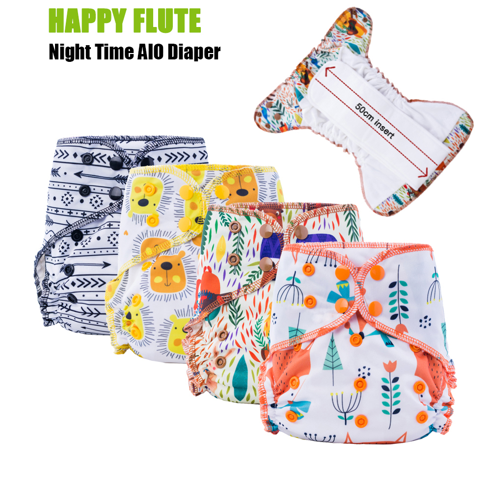5Pcs Happy Flute Organic Bamboo Cotton Night Use AIO Cloth Diaper Heavy Wetter Over Night Baby Diapers Fit 3-15kg Baby