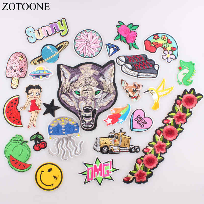 ZOTOONE Wolf Flower Star Patch for Clothes Iron on Sew on Embroidered Letter Patch Fabric Badge Applique DIY Apparel Accessory A