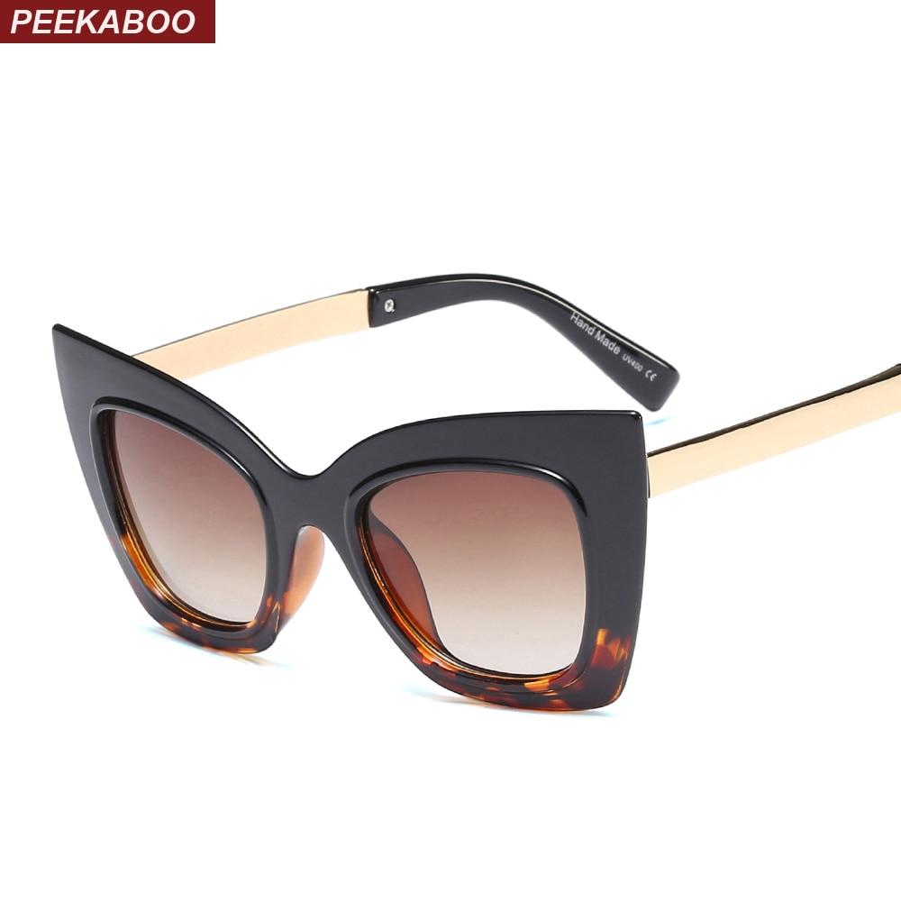 fdbad622fa Peekaboo fashion cat eye sunglasses women oversized black 2019 summer sexy  sun glasses for women cat eye uv400 half metal