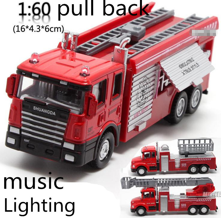 Free shipping ! 1 : 60 alloy pull back Sound and light Fire engine toy model,Classic Toys,Childrens educational toys