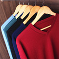 13 solid color v-neck top quality 100% WOOL men sweater spring  Winter Warm Cashmere man knitwear Pullover BIG SIZE S-4XL