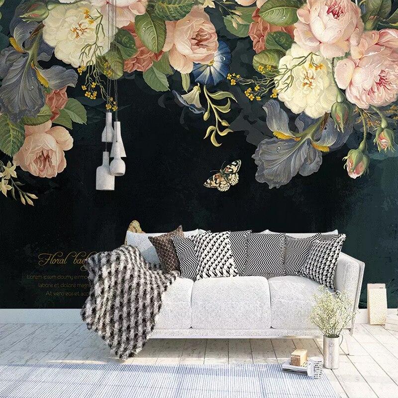 Custom 3D Wallpaper Silk Cloth Waterproof Canvas Murals Wall Painting Pastoral Floral Flower Oil Painting Black Mural Wallpaper 4