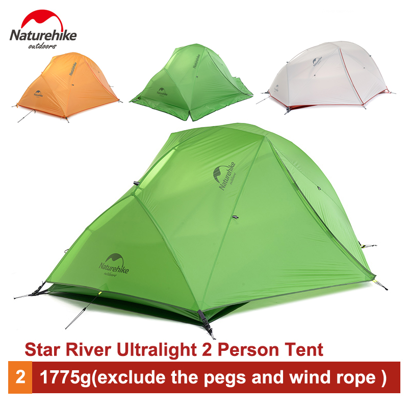 Naturehike 2 Person Ultralight Camping Tent Waterproof 20D Silicone/210T Plaid Fabric Double-layer Tent  NH17T012-T naturehike 3 person camping tent 20d 210t fabric waterproof double layer one bedroom 3 season aluminum rod outdoor camp tent