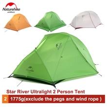 Naturehike 2 Person Ultralight Camping Zelt Wasserdicht 20D Silikon/210 T Plaid Stoff doppelschicht Zelt NH17T012-T