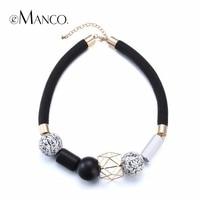 Black Rope Choker Necklace Wooden Jewelry Geometric Wooden Beads Short Necklace Fashion Jewelry Minimalistic 2015