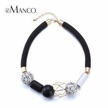 eManco Statement Necklace Fashion Jewelry Minimalist Ethnic Chokers Necklaces Women Black & White Wood Beads Choker 2017 for mom