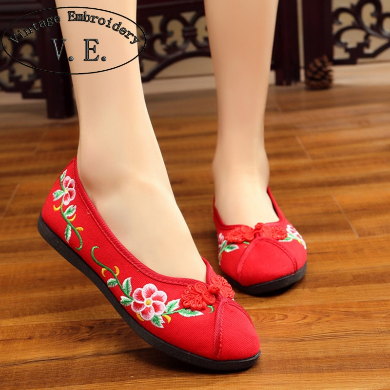 Vintage New Women Flats Shoes Flower Embroidered Cotton Breathable Shoes For Women Ladies Old Peking Dance Soft Flat vintage women flats old beijing mary jane casual flower embroidered cloth soft canvas dance ballet shoes woman zapatos de mujer