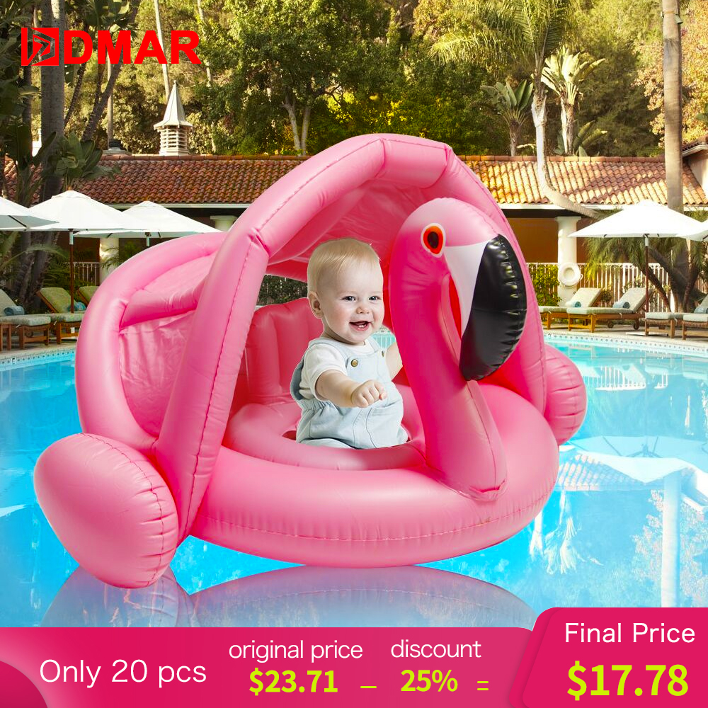 DMAR 0-3 Years Baby Inflatable Flamingo Swan Pool Float with Sunshade Ride-On Swimming Ring Safe Seat Water Toys Infant Circle