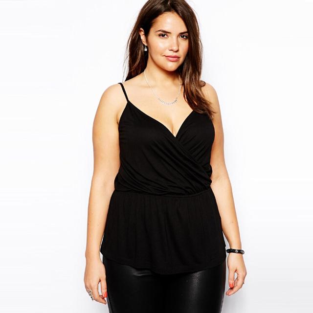 2016 verão novo sexy V profundo backless 5XL plus size mulheres cruz plissado tanque t camisa casual camis ST2421