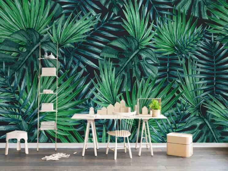 Kustom Dinding Mural Wallpaper Gaya Eropa Nordic Kesederhanaan Hutan Hujan Tanaman Daun Pisang Pastoral Dinding Lukisan Wallpaper 3D