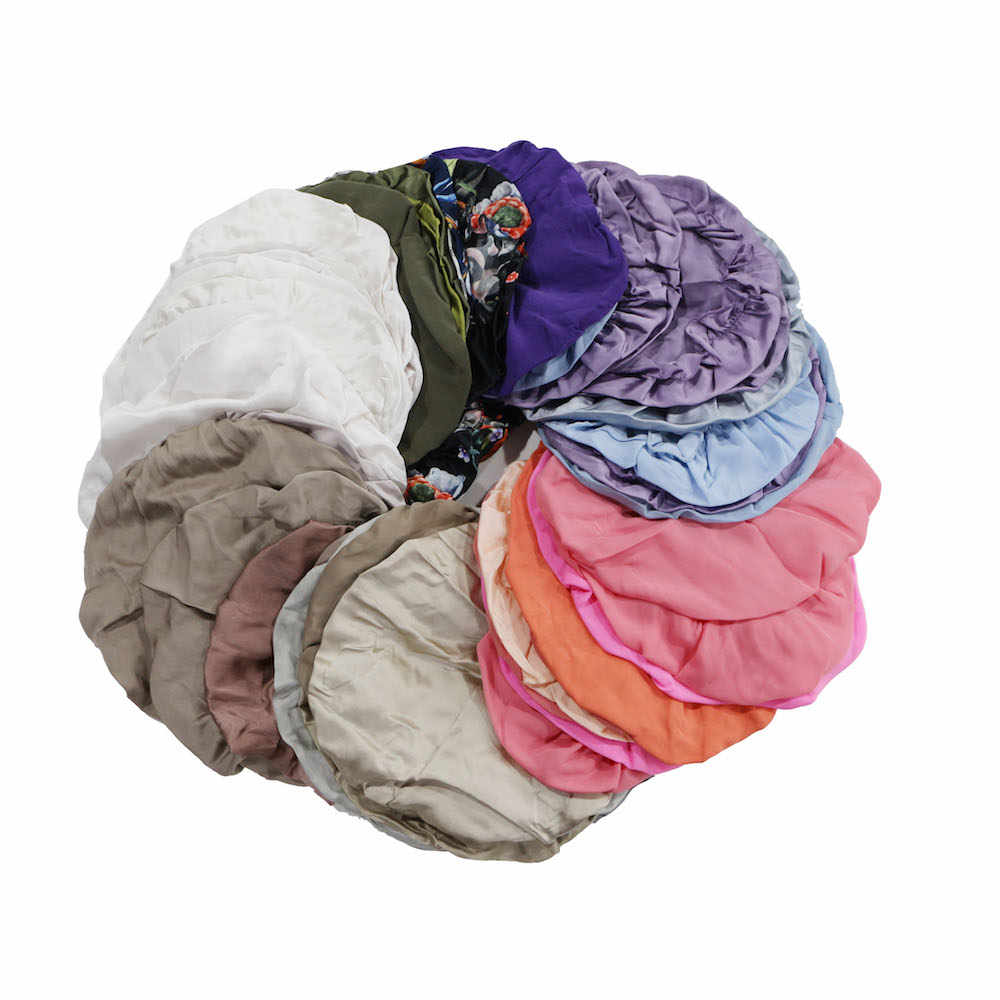 Silk Shower Cap 100% Natural Silk Fabric Women Caps for Hair Treatment Free Size No Waterproof Elastic Band Random Color 1pc