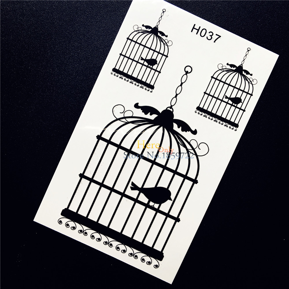 Fashion Waterproof Arm Decals Temporary Tattoo Birdcage Cage Brid Design Men Women Body Leg Art Fake Tattoos For Men Women HH037