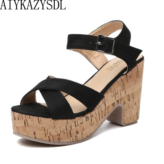 e5ee0fd1fafc AIYKAZYSDL Women Flock Cross Strap Shoes 2018 Rome Gladiator Sandals Wood  Print Platform Wedge Shoes Thick Block High Heel Pumps