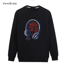 VanGise hoodies men brand clothing music print black/white sweatshirt men's O-neck long sleeve male hoodies tracksuit tees tops