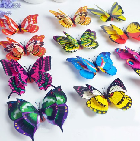12cm Bright Two Pair Wings Butterfly Fridge Magnets Simulation Butterfly Brooch Home Decor 100pcs lot FM016
