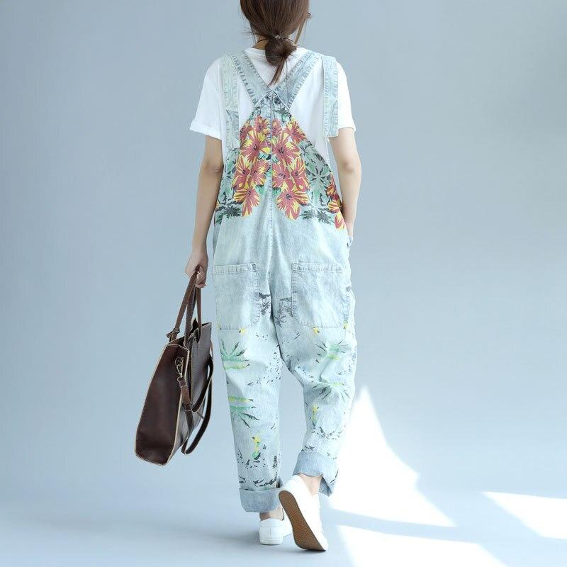 f22c3d9a504 Plus Size Casual Loose Floral Print Cotton Overalls Women Romper Boyfriend  Wide Leg Jumpsuit Harem Pants Trousers