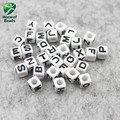 100pcs Environmental good Acrylic Square Shape English Letter Number Alphabet Digital Loose Bead For DIY Bracelets OMBA1001