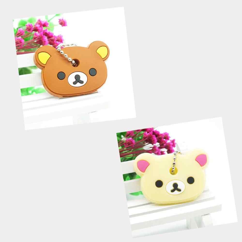 2018 PCS 2 conjunto Tampa Chave Bonito Anime urso Dos Desenhos Animados Olá Kitty melody Totoro Silicone Chaveiros Chave do carro Animais anéis Chaveiro