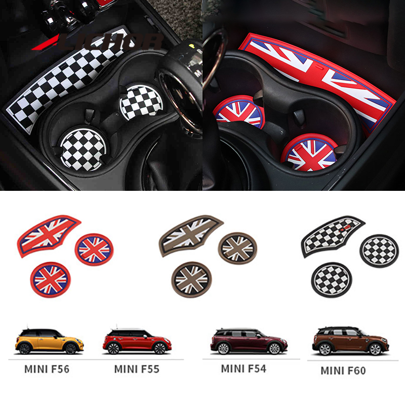 3PCS Union Jack Car Cup Coffee Cushion Storage Auto Non-slip Mat Pad For Mini Cooper Clubman F55 F56 F60 F54 F57 Accessories