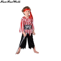 Kids Boys Pirate Suit Halloween Party Performance Cosplay Costumes For Kids Children Maasquerade Carnival Show