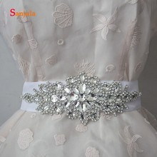 White/Grey/Colorful Beads Dazzling Bridal Wedding Belts with Sashes Handmade High Quality Accessories B09