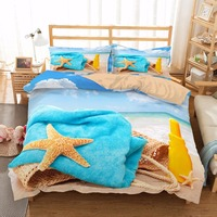 MUSOLEI 3D Bedding Set Bathing by the Sea Bed Cover Duvet cover set, Fiery summer,Cute,holidays CL King Sizes Home Textiles 3pc