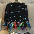 Cardigan Pull Women Sweater Cardigan Hand - Made Personality Cartoon Three Dimensional Satin Color Birdie Parrots Knit Sweaters