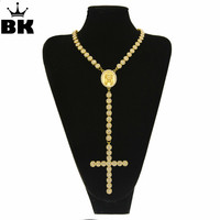 Men Women Gold Color Catholic Religious Jesus Cross Rosary Necklace Jewelry 1 Row Iced Out Rhinestone Hip Hop Cluster Chain