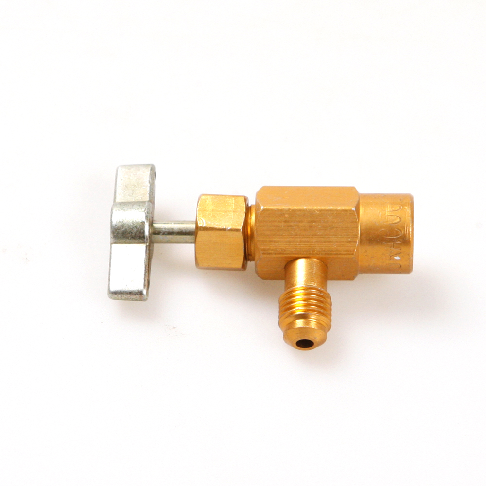 <font><b>R134a</b></font> <font><b>Refrigerant</b></font> <font><b>Can</b></font> Con Bottle Tap Opener Valve 1/4SAE M14 Threaded Adapter image
