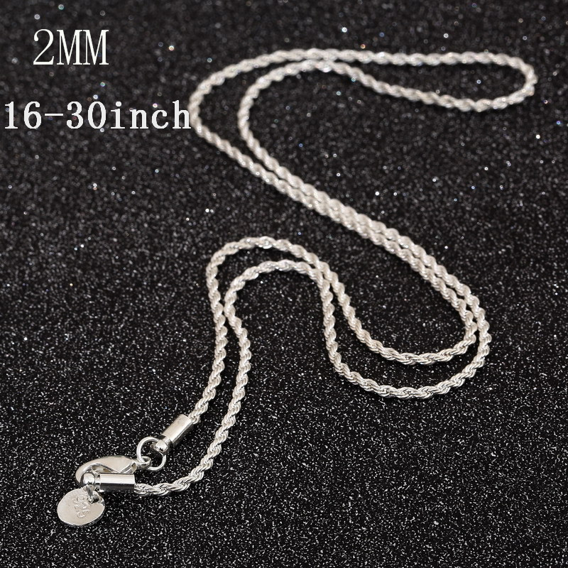 1PC 16-30inch Wholesale jewelry 925 Sterling Silver Plated Snake Chain Necklaces