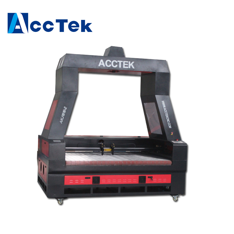 AccTek Camera large scale Laser 1810 100w fabric roll cutter machine auto feeding system