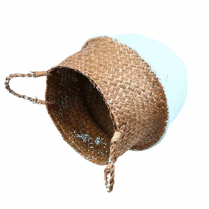 Saco Organizador De Armazenamento Seagrass Cesta Da Flor de Cor Hit Do Ventre WHISM Wicker Vaso de flor Home Decor Vaso Vasos Rattan Pote de Berçário