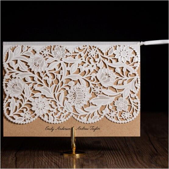 Vintage wedding invitations elegant laser cut birthday for Hochzeitseinladungen vintage mit spitze