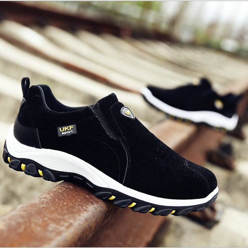 New Autumn Men Mountain Sneakers Slip On shoes Male Suede Leather Trekking Hiking Shoes Outdoor Sneakers Hiking Shoes HB-18Z 4